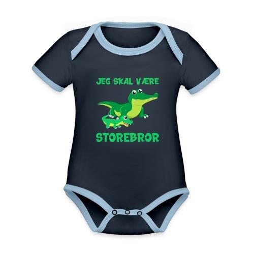 Jeg skal være storebror krokodille gave fødsel - Kortærmet økologisk babybody i kontrastfarver