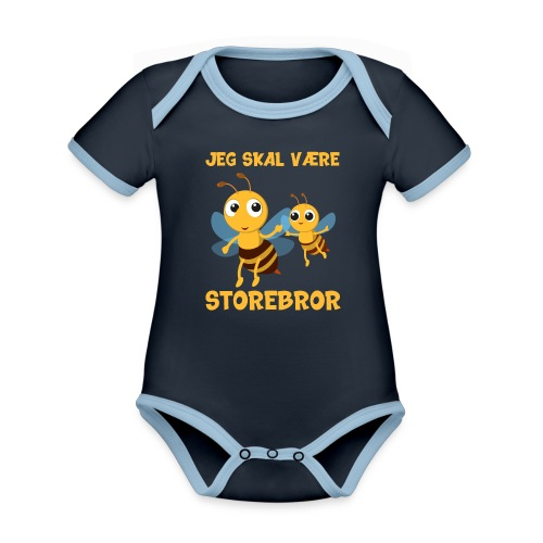 Jeg skal være storebror bier bi gave fødsel - Kortærmet økologisk babybody i kontrastfarver