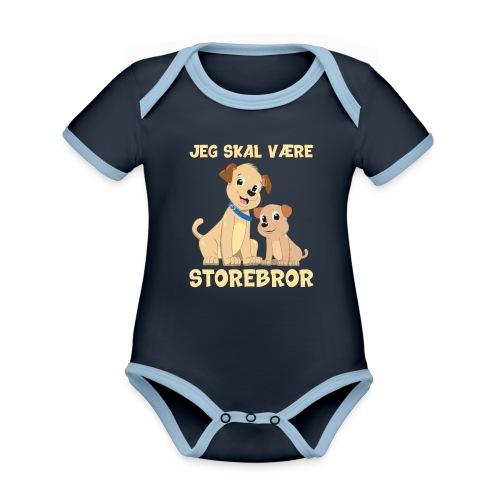 Jeg skal være storebror hvalpe hund gave fødsel - Kortærmet økologisk babybody i kontrastfarver