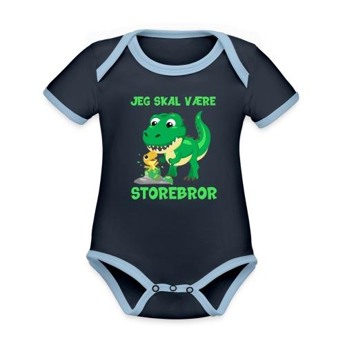 Jeg skal være storebror dinosaur gave dino - Kortærmet økologisk babybody i kontrastfarver