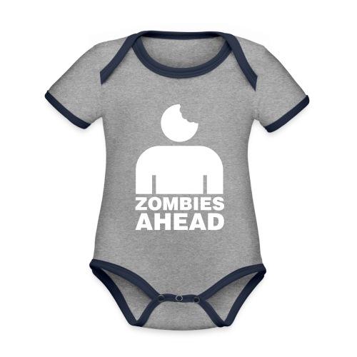 Zombies Ahead - Ekologisk kontrastfärgad kortärmad babybody