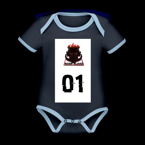 Boar blood 01 - Ekologiczne body niemowlęce z krótkim rękawem i kontrastowymi lamówkami