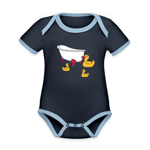 Vintage Retro Comic Swimming Pool Ducks Holiday - Baby Bio-Kurzarm-Kontrastbody