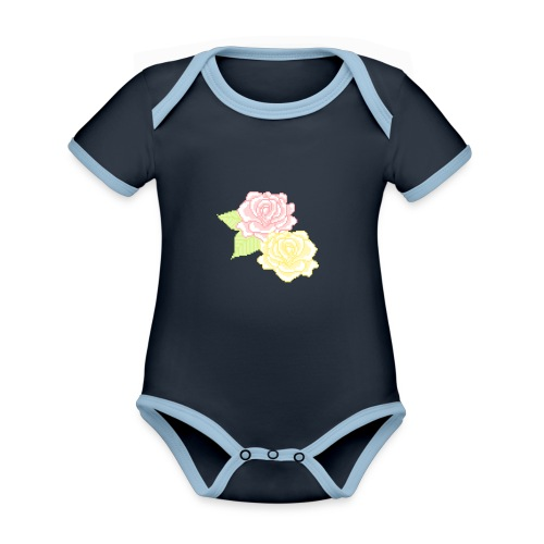 Flower child - Kortærmet økologisk babybody i kontrastfarver