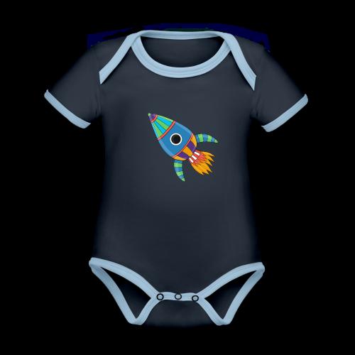 Bunte Rakete - Baby Bio-Kurzarm-Kontrastbody