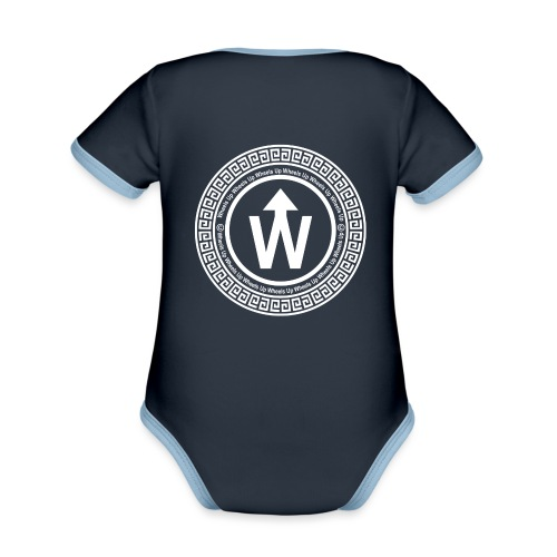 wit logo transparante achtergrond - Baby contrasterend bio-rompertje met korte mouwen