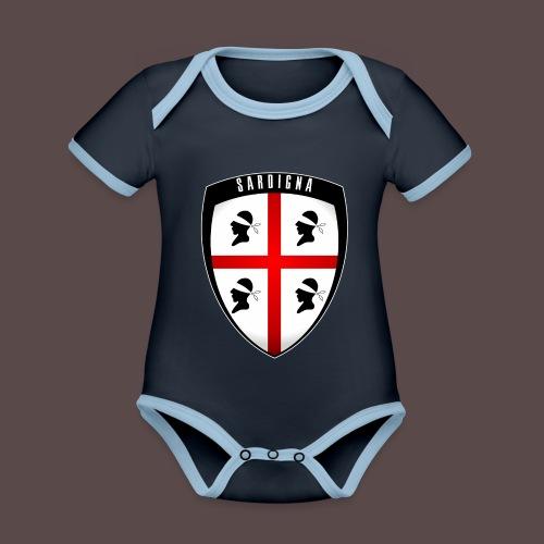 Sardegna Stemma - Body da neonato a manica corta, ecologico e in contrasto cromatico