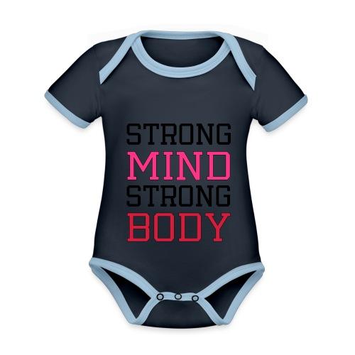strong mind strong body - Kortærmet økologisk babybody i kontrastfarver