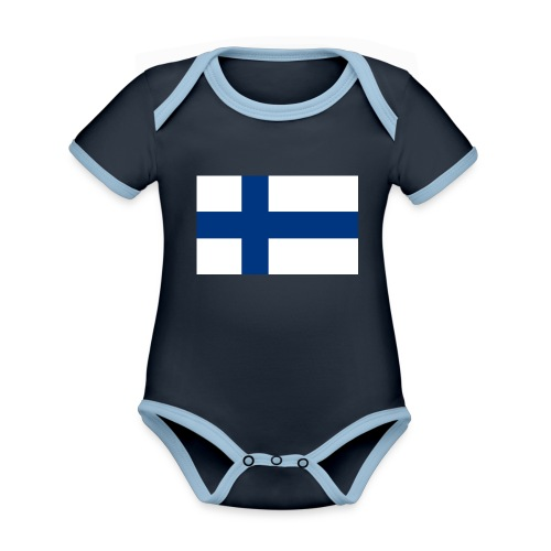 800pxflag of finlandsvg - Vauvan kontrastivärinen, lyhythihainen luomu-body