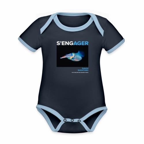 1 Achat = 1 Don à l'association Deep blue explore - Body Bébé bio contrasté manches courtes