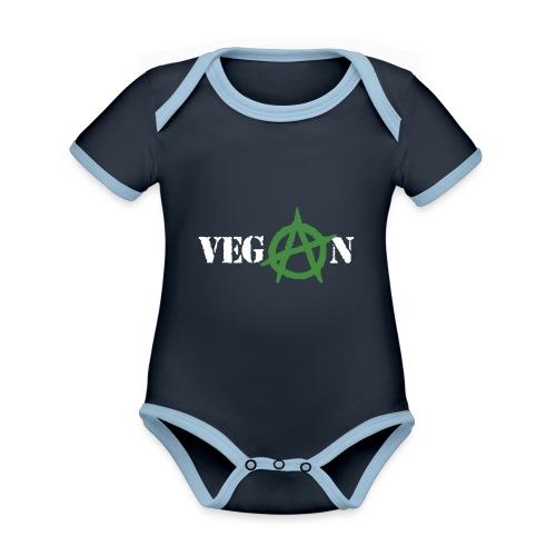 vegan anarchy - Body da neonato a manica corta, ecologico e in contrasto cromatico