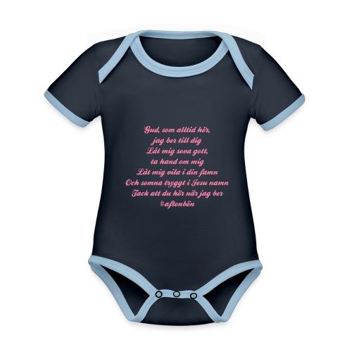 Aftonbön - Ekologisk kontrastfärgad kortärmad babybody