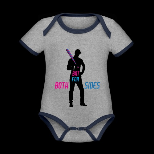 I bat for both sides male - Organic Baby Contrasting Bodysuit