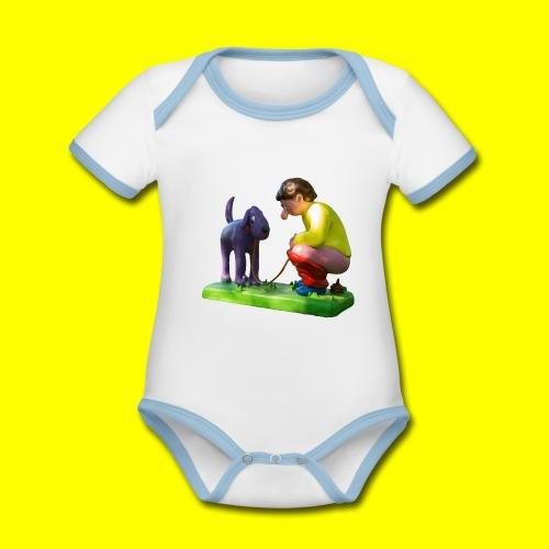Mannetje Poep vrijstaand - Baby contrasterend bio-rompertje met korte mouwen