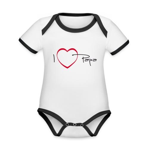 I love papa - 15 graph - Body Bébé bio contrasté manches courtes