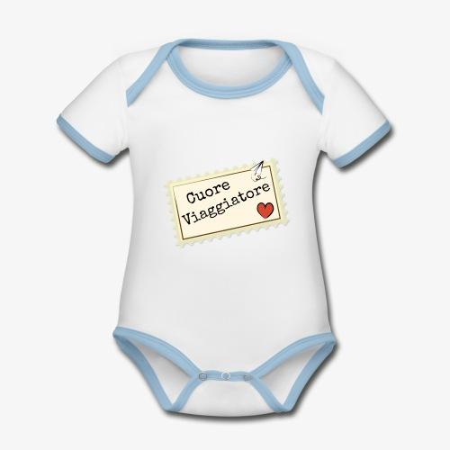 CUORE VIAGGIATORE Scritta con aeroplanino e cuore - Body da neonato a manica corta, ecologico e in contrasto cromatico
