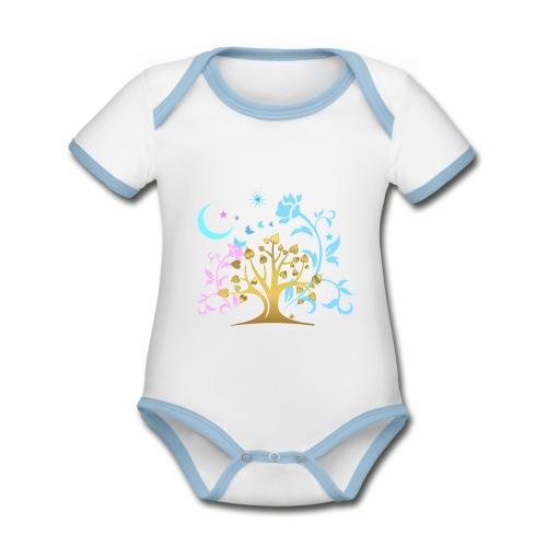 Mystic Tree - Baby Bio-Kurzarm-Kontrastbody