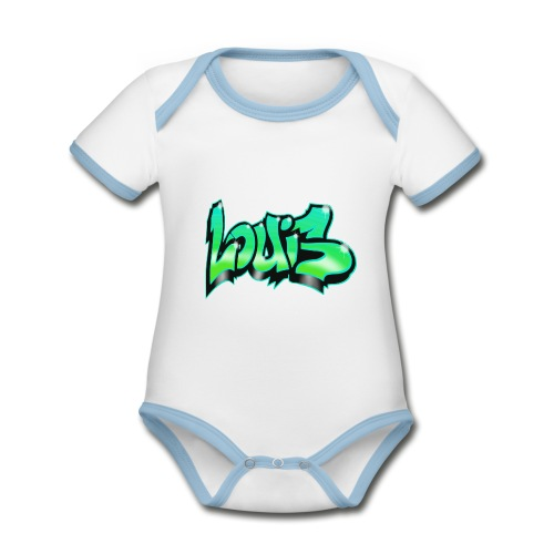 Graffiti Tag prénom LOUIS vert - Body Bébé bio contrasté manches courtes