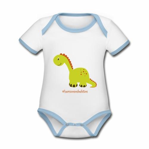 hermosos bebitos dinosaurio - Body contraste para bebé de tejido orgánico