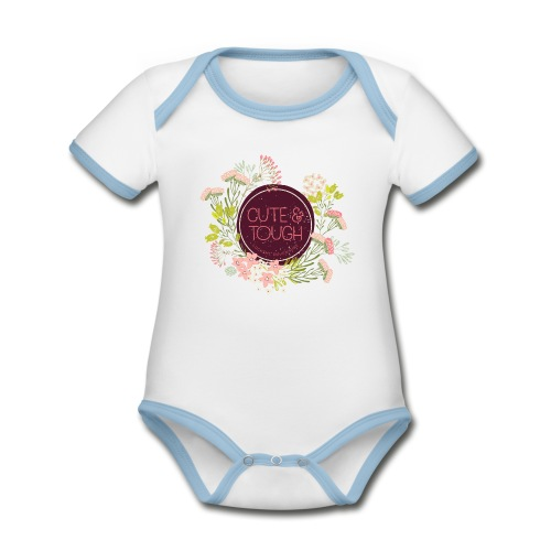 Cute and tough - wine red - Organic Baby Contrasting Bodysuit