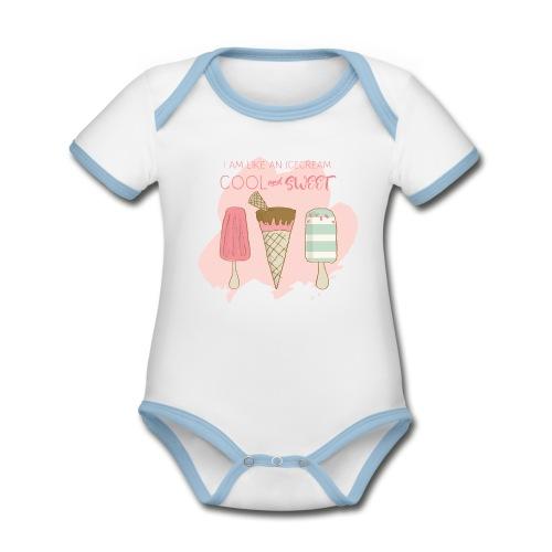 Icecream strawberry - Organic Baby Contrasting Bodysuit