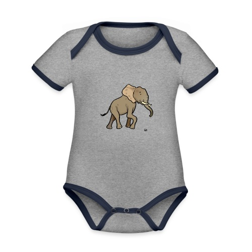 African elephant - Organic Baby Contrasting Bodysuit