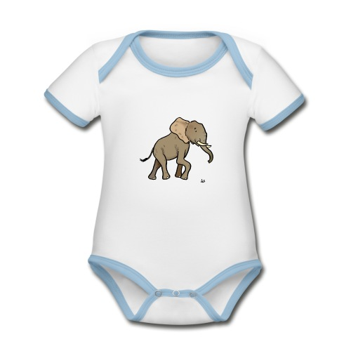 African Elephant - Organic Baby Contrasting Bodysuit