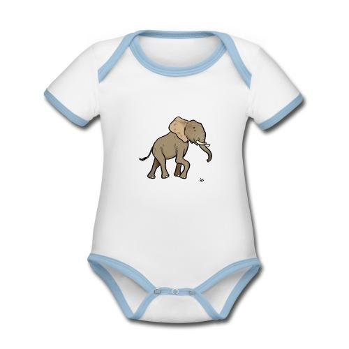 Éléphant d'Afrique - Body Bébé bio contrasté manches courtes