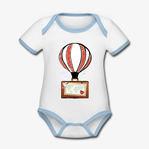 CUORE VIAGGIATORE Gadget per chi ama viaggiare - Body da neonato a manica corta, ecologico e in contrasto cromatico