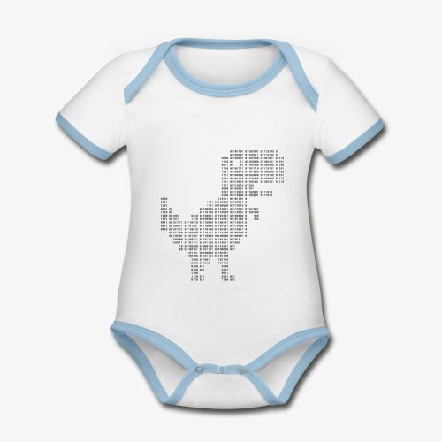 Dinosaur Binary | Google dinosaur | 404 | T-rex | - Organic Baby Contrasting Bodysuit