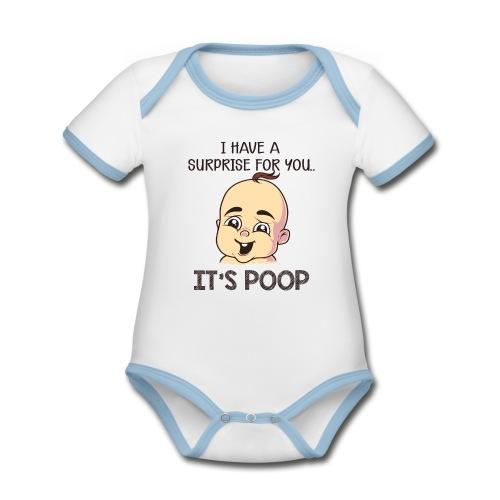 Baby Body mit süssem Design - Die Überraschung - Baby Bio-Kurzarm-Kontrastbody
