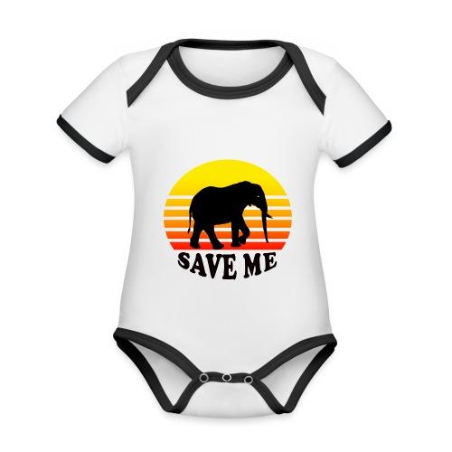 Elefant SAVE ME Schattenriss Sonne - Baby Bio-Kurzarm-Kontrastbody