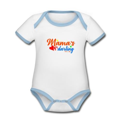 Süsser Baby Body mit mamas Liebling Design - Baby Bio-Kurzarm-Kontrastbody