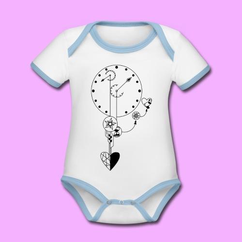 L'amour - Body Bébé bio contrasté manches courtes
