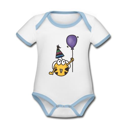 Feierbiene - Baby Bio-Kurzarm-Kontrastbody