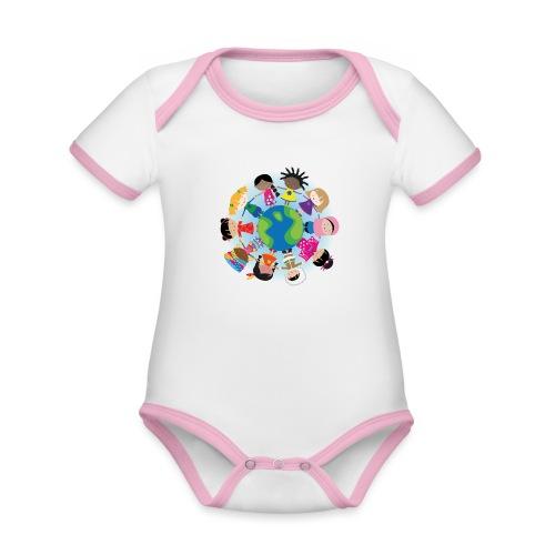 Happy Meitlis - Around the World - Baby Bio-Kurzarm-Kontrastbody