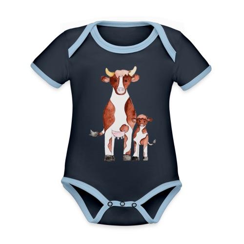 Kühe - Baby Bio-Kurzarm-Kontrastbody