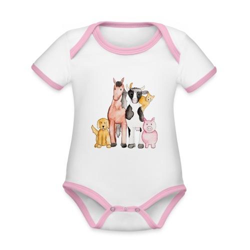 Kitzelines tierische Freunde - Baby Bio-Kurzarm-Kontrastbody