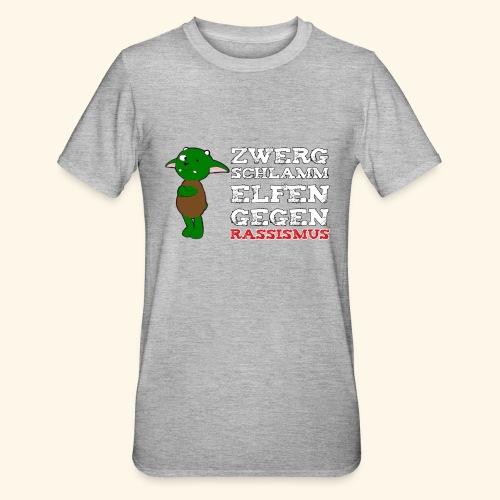 Zwergschlammelfen gegen Rassismus (weiße Schrift) - Unisex Polycotton T-Shirt