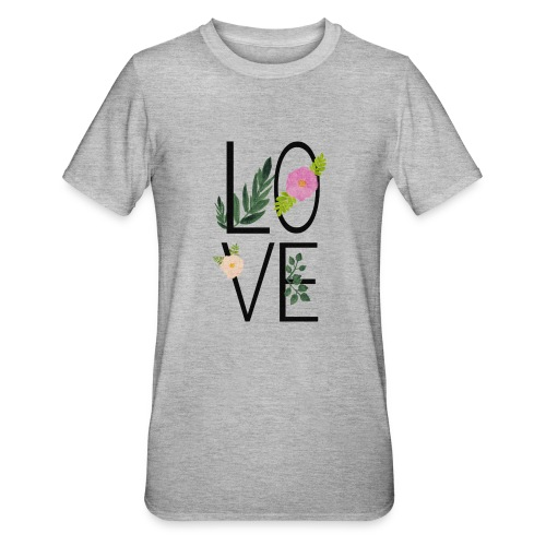 Love Sign with flowers - Unisex Polycotton T-Shirt