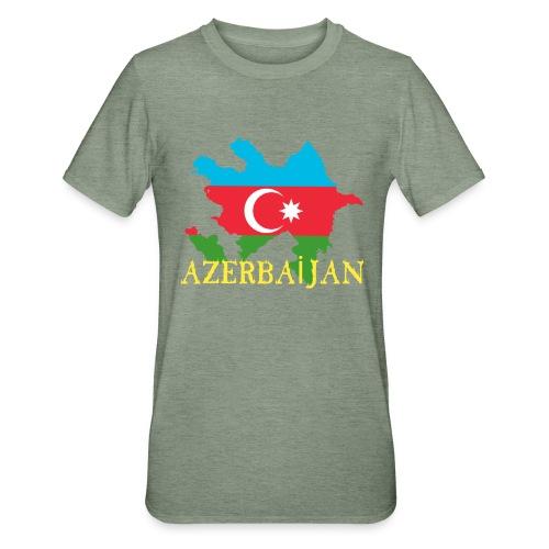Aserbaidschan Flagge mit Feuer Text - Unisex Polycotton T-Shirt