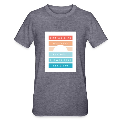 Weights, meditate, meat, cold, go! - Unisex Polycotton T-Shirt