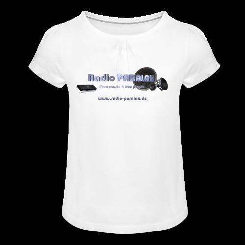 Radio PARALAX Facebook-Logo mit Webadresse - Mädchen-T-Shirt mit Raffungen