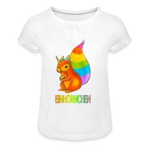 Einhörnchen - Mädchen-T-Shirt mit Raffungen