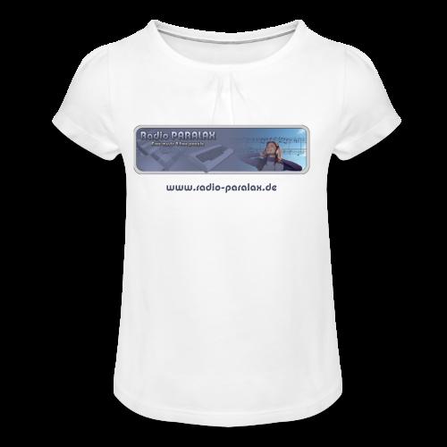 Radio PARALAX Classic-Logo mit Webadresse - Mädchen-T-Shirt mit Raffungen