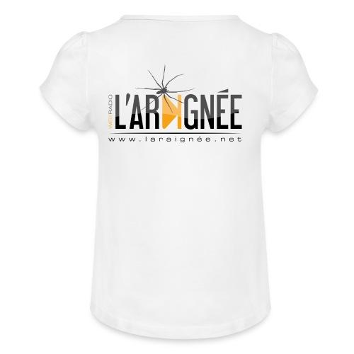 L'ARAIGNÉE, logo noir - T-shirt à fronces au col Fille