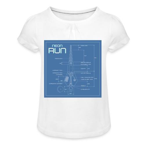 NeonRun blueprint - Meisjes-T-shirt met plooien