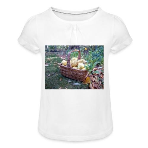 Quitten-Korb - Mädchen-T-Shirt mit Raffungen