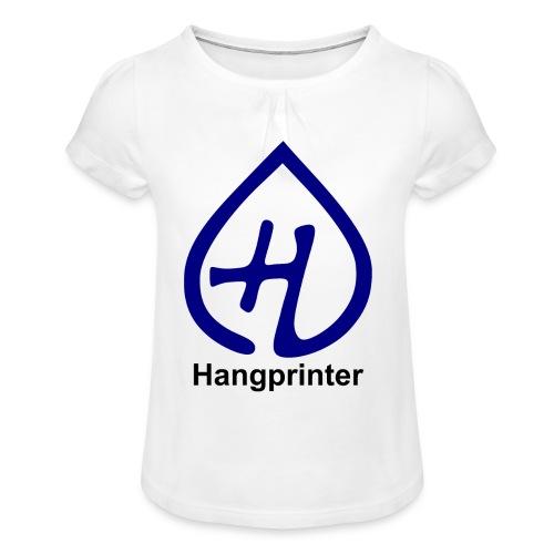 Hangprinter logo and text - T-shirt med rynkning flicka