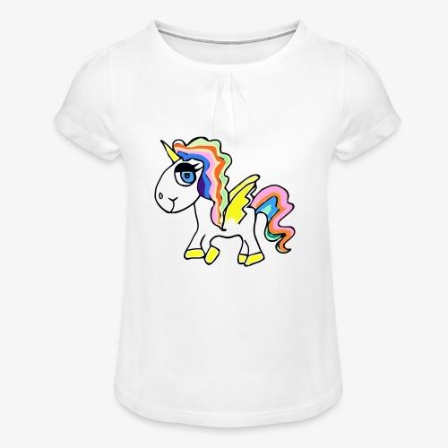 Buntes lässiges Einhorn - Mädchen-T-Shirt mit Raffungen